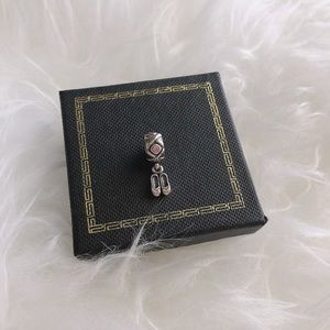 Authentic Pandora Ballet Shoes Charm Pink Cz